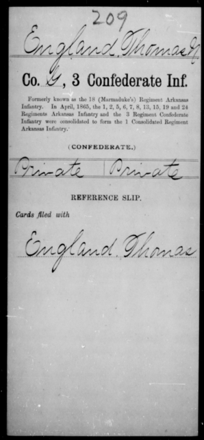 England, Thomas N - Age [Blank], Year: [Blank] - Third Confederate Infantry, E-W - Raised Directly by the Confederate Government