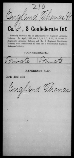 England, Thomas W - Age [Blank], Year: [Blank] - Third Confederate Infantry, E-W - Raised Directly by the Confederate Government