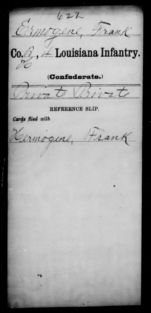 Ermogene, Frank - Age [Blank], Year: [Blank] - Third Regiment, First Brigade, First Division, Militia,, L - Z - Louisiana