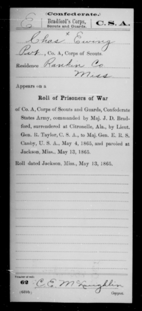 Erving, Charles - Age [Blank], Year: 1864 - Bailey's Consolidated Regiment of Infantry AND Bradford's Corps, Scouts and Guards - Raised Directly by the Confederate Government