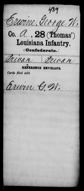 Erwine, George W - Age [Blank], Year: [Blank] - Twenty-eighth (Thomas') Infantry, C - G - Louisiana