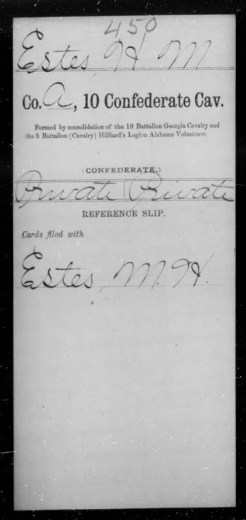 Estes, H M - Age [Blank], Year: [Blank] - Tenth Confederate Cavalry, A-E - Raised Directly by the Confederate Government