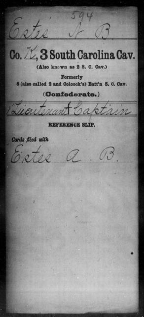 Estes, N B - Age: [Blank], Year: [BLANK] - South Carolina Third Cavalry Do-G