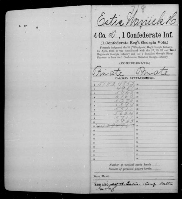 Estis, Warrick H - Age [Blank], Year: 1862 - First Confederate Infantry, C-E - Raised Directly by the Confederate Government