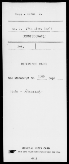 Eves, Rufus C - Age: [Blank], Year: [BLANK] - Mississippi Seventeenth Infantry, Di-F