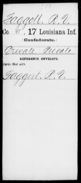 Faggott, R V - Age [Blank], Year: [Blank] - Seventeenth Infantry, Cl- F - Louisiana