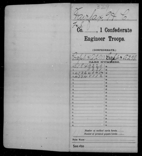 Fairfax, Herbert C - Age [Blank], Year: 1864 - First Confederate Engineer Troops, D-F - Raised Directly by the Confederate Government