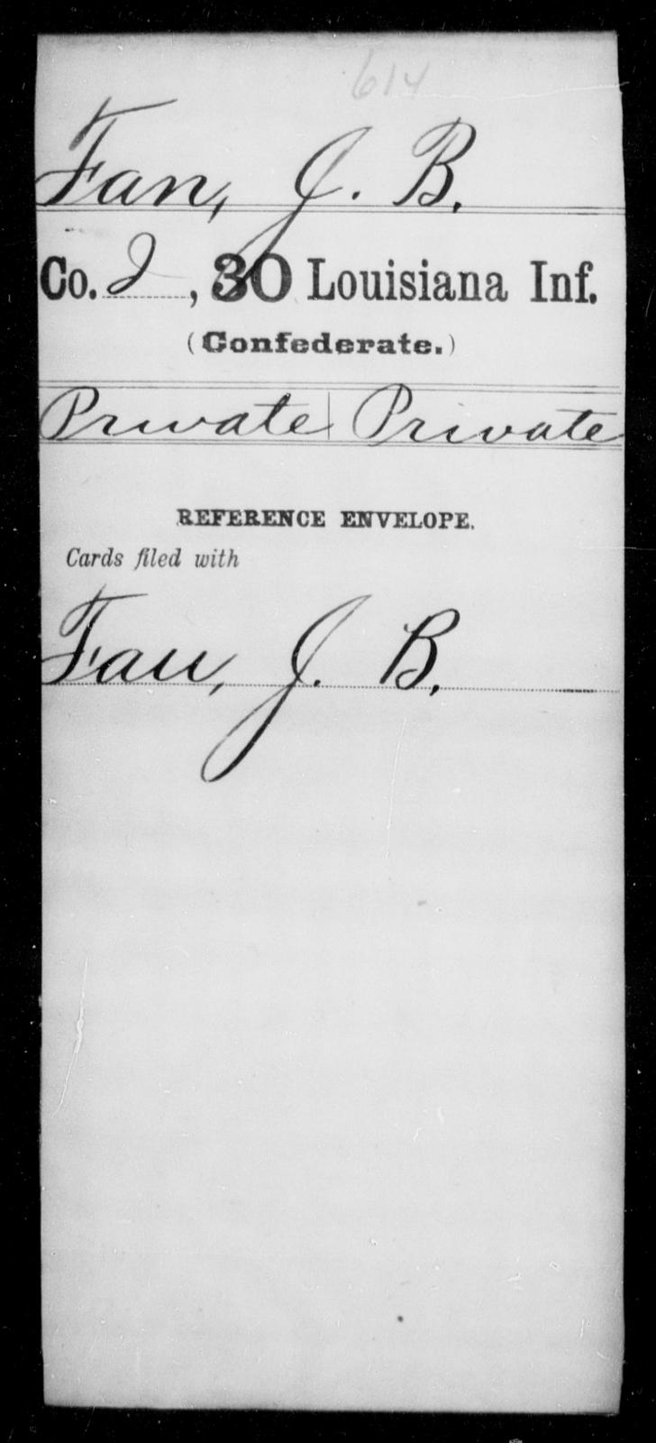 Fan, J B - Age [Blank], Year: [Blank] - Thirtieth Infantry, C - Fa - Louisiana