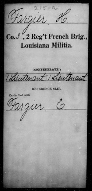 Fargier, H - Age [Blank], Year: [Blank] - Second Regiment, French Brigade, Militia - Louisiana