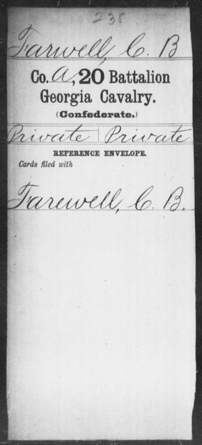 Farwell, C B - 20th Battalion, Cavalry