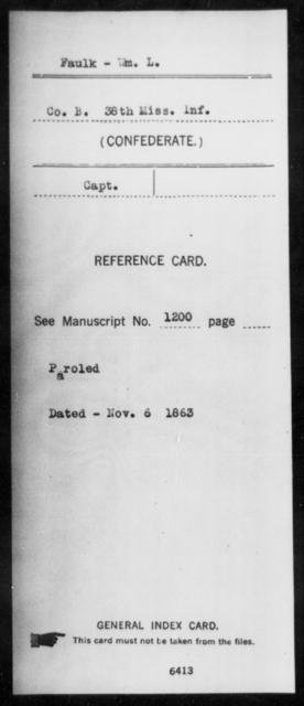 Faulk, Wm L - Age: [Blank], Year: [BLANK] - Mississippi Thirty-eighth Cavalry, D-H