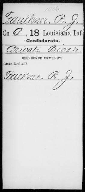 Faulkner, R J - Age [Blank], Year: [Blank] - Eighteenth Infantry, D - F - Louisiana