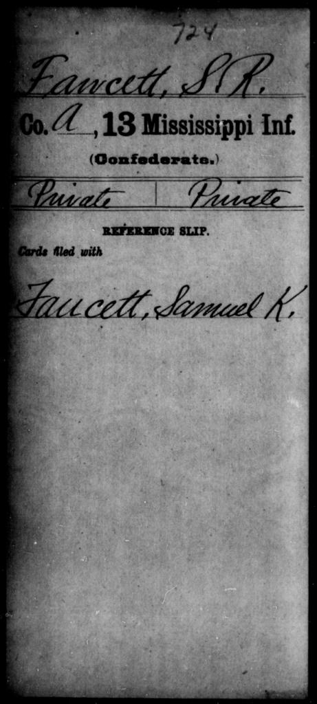 Fawcett, S R - Age: [Blank], Year: [BLANK] - Mississippi C, D-F