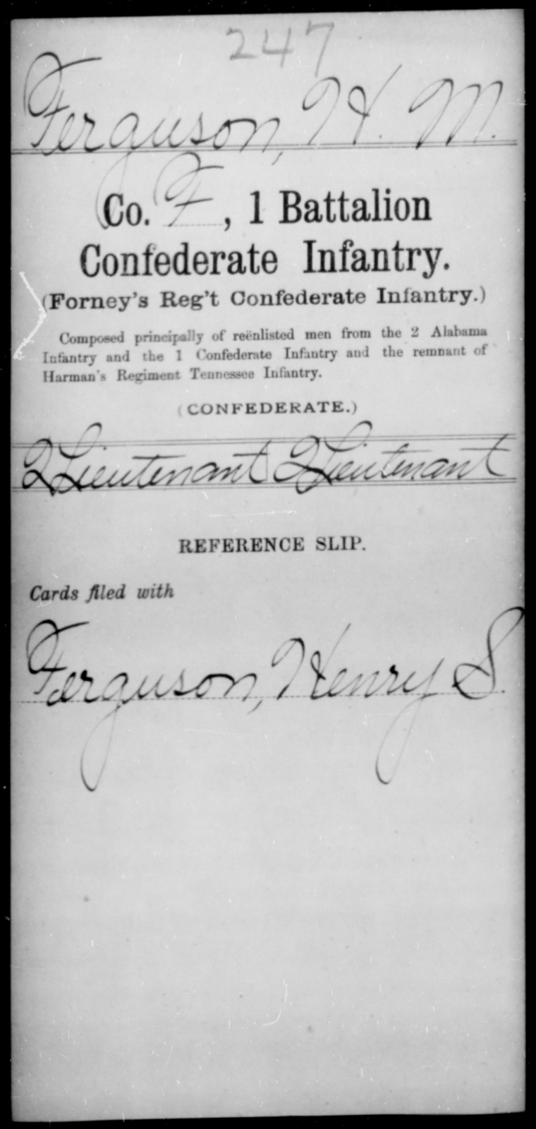 Ferguson, H M - Age [Blank], Year: [Blank] - First Battalion, Confederate Infantry, A-K - Raised Directly by the Confederate Government