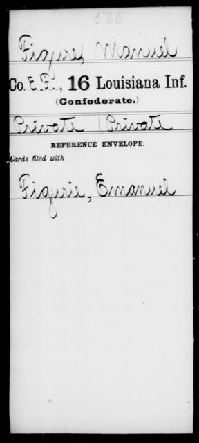 Figure, Manuel - Age [Blank], Year: [Blank] - Sixteenth Infantry, E - Ha - Louisiana