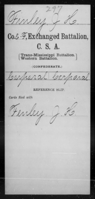 Finley, J H - Age [Blank], Year: [Blank] - Gillum's Regiment AND Lt. Haskell's Co., Infantry AND Jackson's Co., CSA AND Capt. McDaniel's Co., Secret Service AND Stirman's Regiment, Sharp Shooters AND Tucker's Regiment, Confederate Infantry, A-D - Raised Directly by the Confederate Government