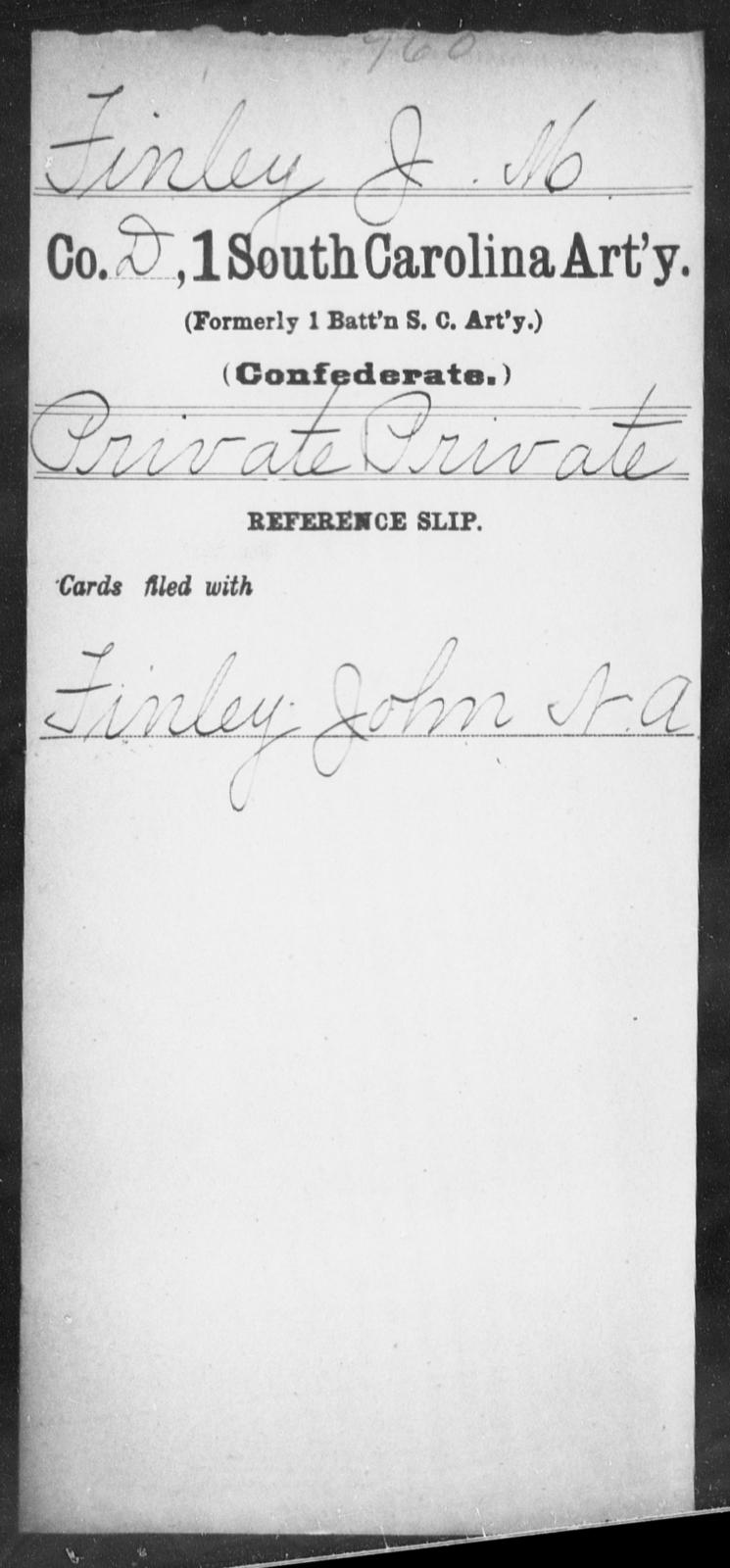 Finley, J M - Age: [Blank], Year: [BLANK] - South Carolina First Artillery De-Ga