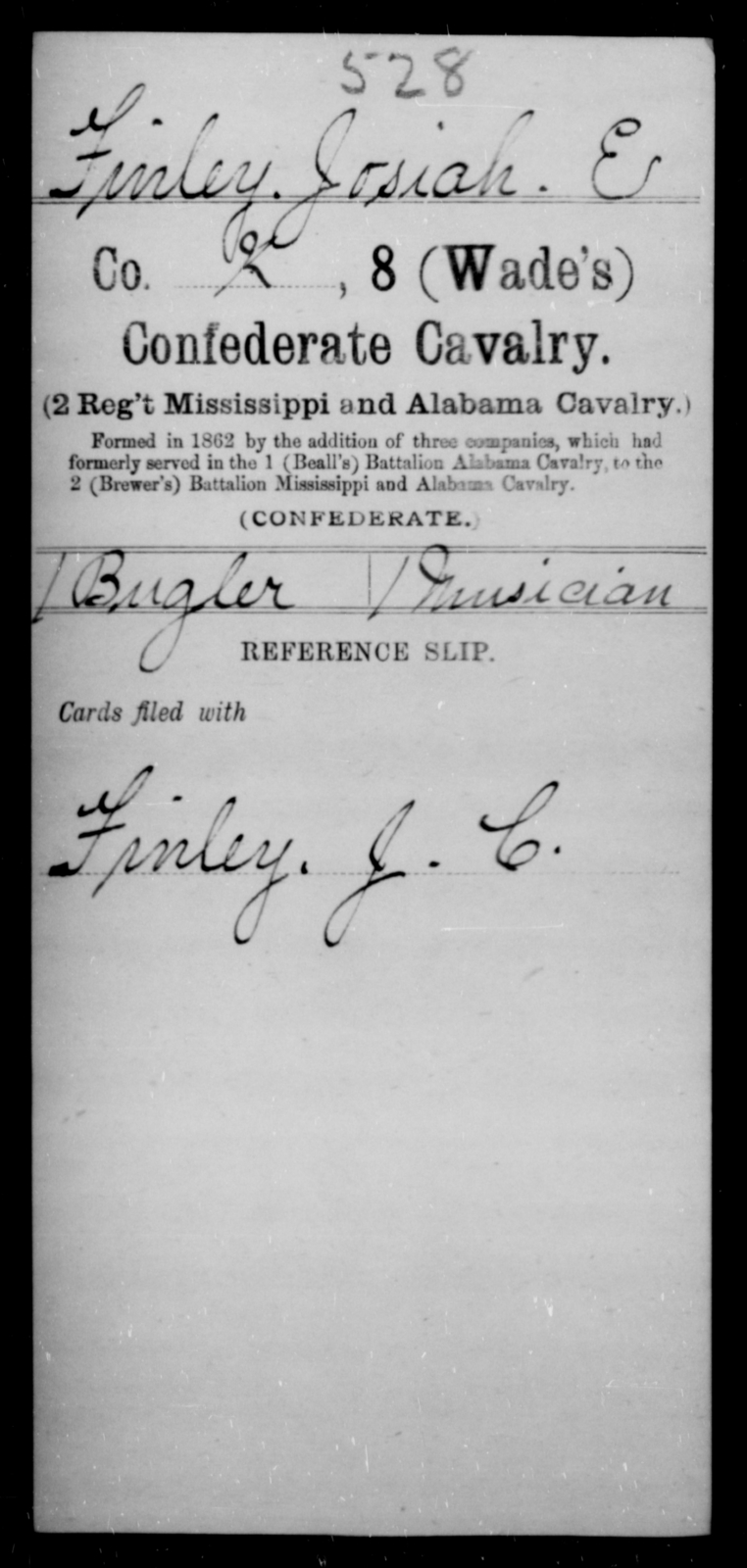 Finley, Josiah E - Age [Blank], Year: [Blank] - Eighth Confederate Cavalry, E-K - Raised Directly by the Confederate Government