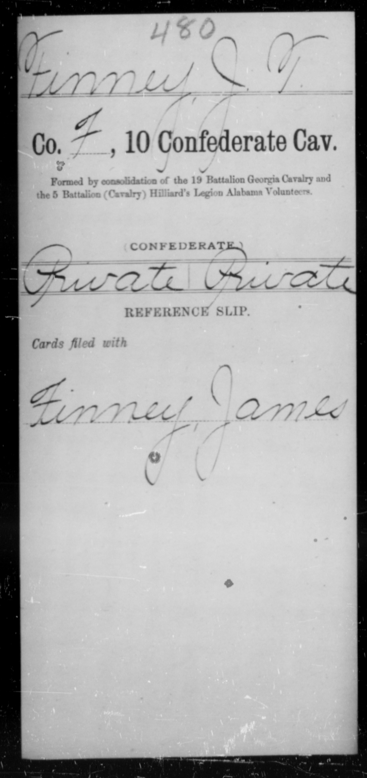 Finney, J T - Age [Blank], Year: [Blank] - Tenth Confederate Cavalry, F-K - Raised Directly by the Confederate Government
