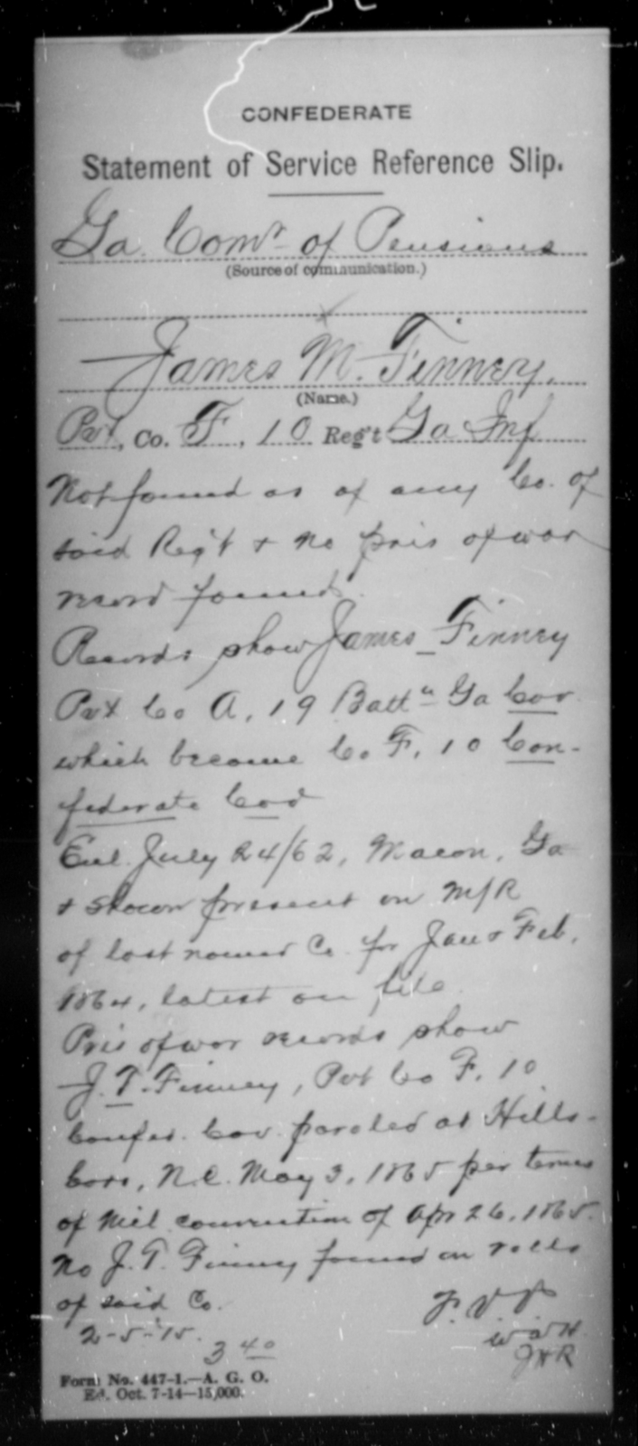 Finney, James M - Age [Blank], Year: [Blank] - Tenth Confederate Cavalry, F-K - Raised Directly by the Confederate Government