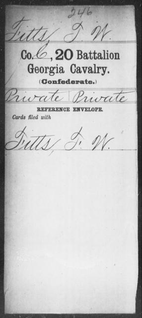 Fitts, T W - 20th Battalion, Cavalry