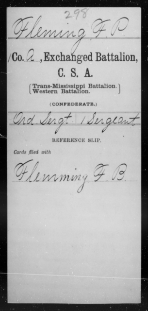 Fleming, F P - Age [Blank], Year: [Blank] - Gillum's Regiment AND Lt. Haskell's Co., Infantry AND Jackson's Co., CSA AND Capt. McDaniel's Co., Secret Service AND Stirman's Regiment, Sharp Shooters AND Tucker's Regiment, Confederate Infantry, A-D - Raised Directly by the Confederate Government