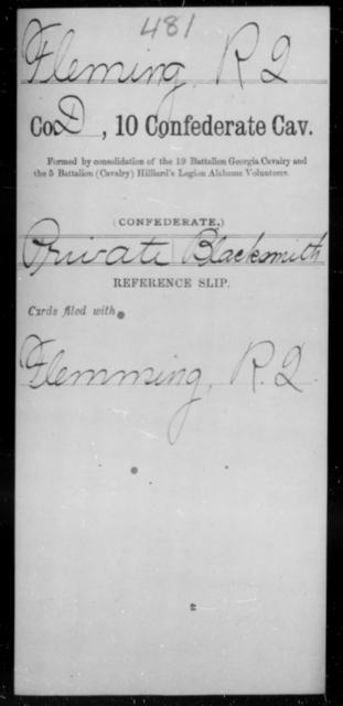 Fleming, R Q - Age [Blank], Year: [Blank] - Tenth Confederate Cavalry, F-K - Raised Directly by the Confederate Government