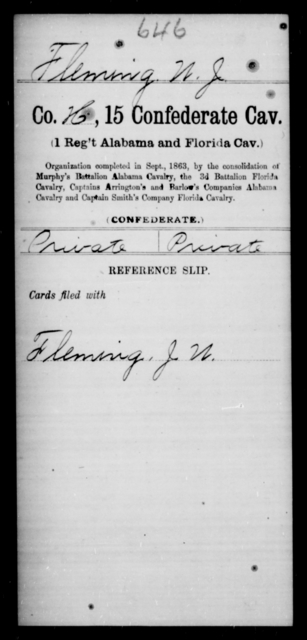 Fleming, W J - Age [Blank], Year: [Blank] - Fifteenth Confederate Cavalry, D-Ha - Raised Directly by the Confederate Government