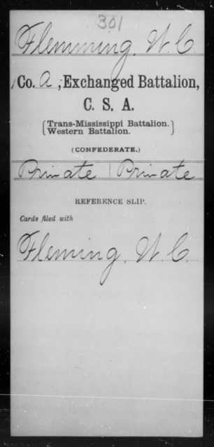Flemming, W C - Age [Blank], Year: [Blank] - Gillum's Regiment AND Lt. Haskell's Co., Infantry AND Jackson's Co., CSA AND Capt. McDaniel's Co., Secret Service AND Stirman's Regiment, Sharp Shooters AND Tucker's Regiment, Confederate Infantry, A-D - Raised Directly by the Confederate Government