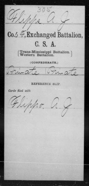 Flipps, A J - Age [Blank], Year: [Blank] - Gillum's Regiment AND Lt. Haskell's Co., Infantry AND Jackson's Co., CSA AND Capt. McDaniel's Co., Secret Service AND Stirman's Regiment, Sharp Shooters AND Tucker's Regiment, Confederate Infantry, A-D - Raised Directly by the Confederate Government