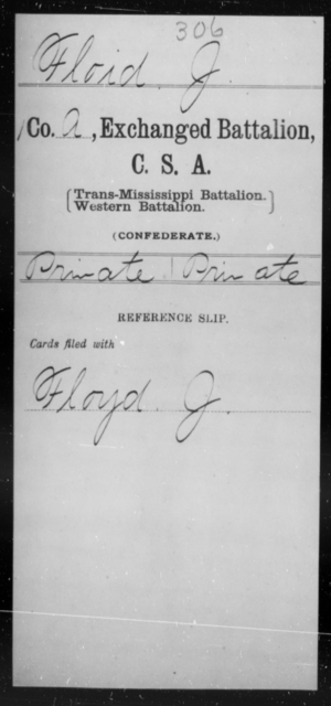 Floid, J - Age [Blank], Year: [Blank] - Gillum's Regiment AND Lt. Haskell's Co., Infantry AND Jackson's Co., CSA AND Capt. McDaniel's Co., Secret Service AND Stirman's Regiment, Sharp Shooters AND Tucker's Regiment, Confederate Infantry, A-D - Raised Directly by the Confederate Government