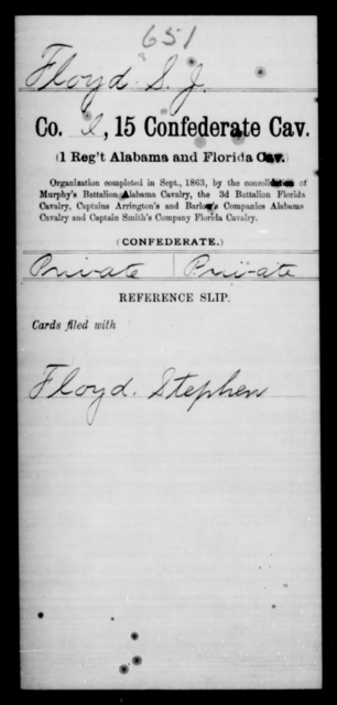 Floyd, S J - Age [Blank], Year: [Blank] - Fifteenth Confederate Cavalry, D-Ha - Raised Directly by the Confederate Government