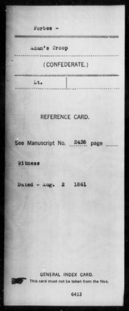 Forbes, [BLANK] - Age: [Blank], Year: [BLANK] - Mississippi Jeff Davis Legion, Cavalry, Co-F