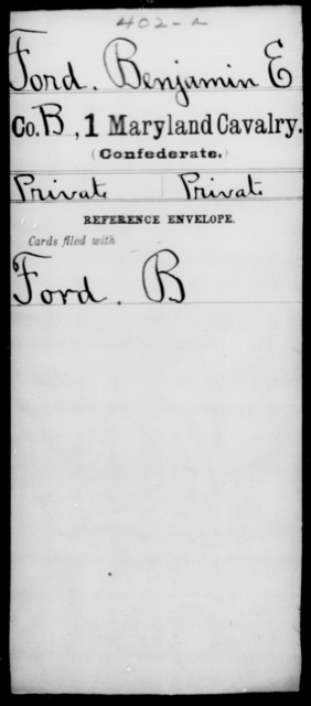 Ford, Benjamin E - Age [Blank], Year: [Blank] - First Cavalry, D-G - Maryland