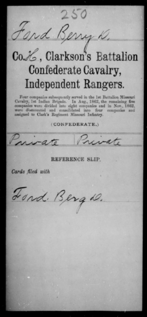 Ford, Berry D - Age [Blank], Year: [Blank] - Bell's Battalion CSA AND Blake's Scouts CSA AND Burrough's Battalion, Partisan Rangers AND Clarkson's Battalion, Confederate Cavalry, Independent Rangers, A-K - Raised Directly by the Confederate Government