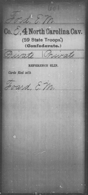 Ford, E M - Fourth Cavalry (59th State Troops)
