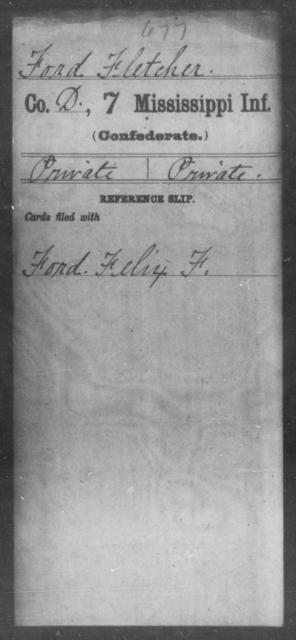 Ford, Fletcher - Age: [Blank], Year: [BLANK] - Mississippi Seventh-Infantry, F-I