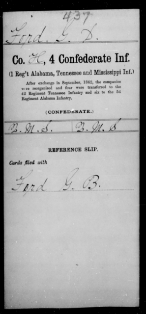 Ford, G D - Age [Blank], Year: [Blank] - Fourth Confederate Infantry, A-F - Raised Directly by the Confederate Government