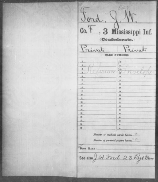 Ford, J W - Age: [Blank], Year: [BLANK] - Mississippi Third Infantry, C-F