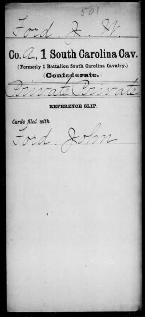 Ford, J W - Age: [Blank], Year: [BLANK] - South Carolina First Cavalry F-Hi