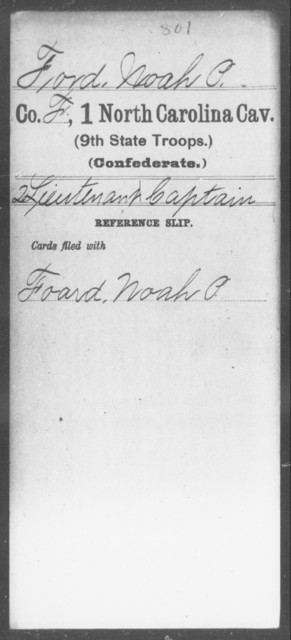 Ford, Noah P - First Cavalry (Ninth State Troops)