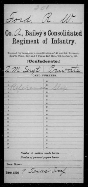 Ford, R W - Age [Blank], Year: [Blank] - Bailey's Consolidated Regiment of Infantry AND Bradford's Corps, Scouts and Guards - Raised Directly by the Confederate Government