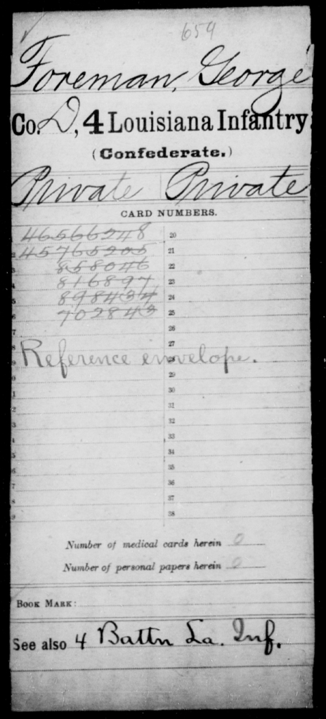 Foreman, George - Age [Blank], Year: [Blank] - Third Regiment, First Brigade, First Division, Militia,, L - Z - Louisiana