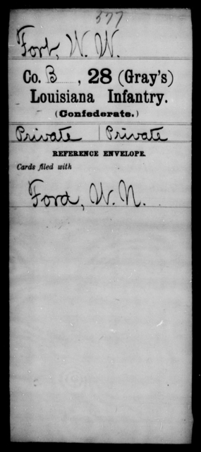 Fort, W W - Age [Blank], Year: [Blank] - Twenty-eighth (Gray's) Infantry, Co - G - Louisiana