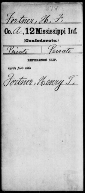 Fortner, H F - Age: [Blank], Year: [BLANK] - Mississippi Twelfth Infantry, D-F