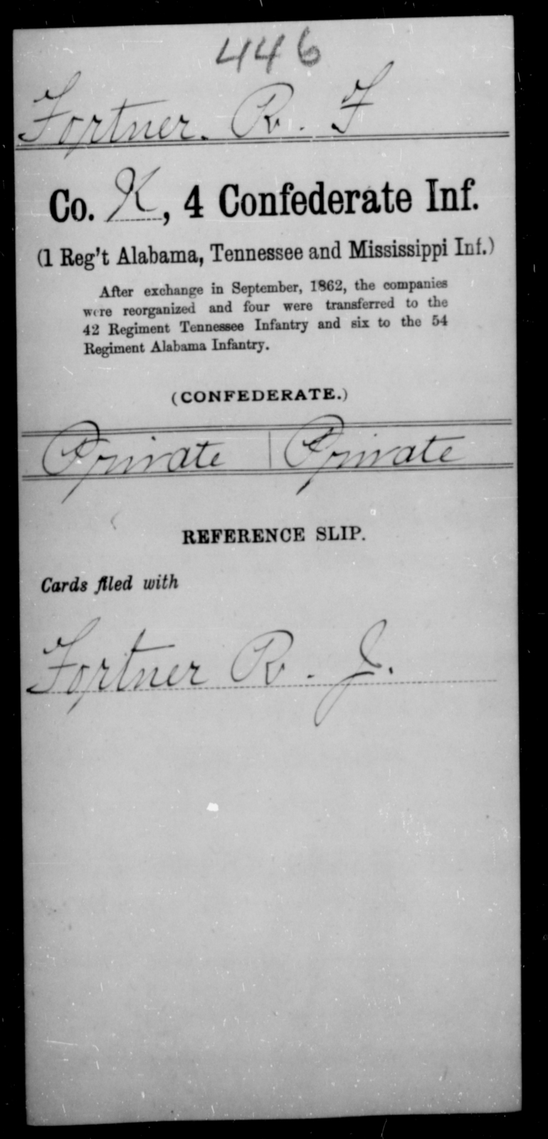 Fortner, R F - Age [Blank], Year: [Blank] - Fourth Confederate Infantry, A-F - Raised Directly by the Confederate Government