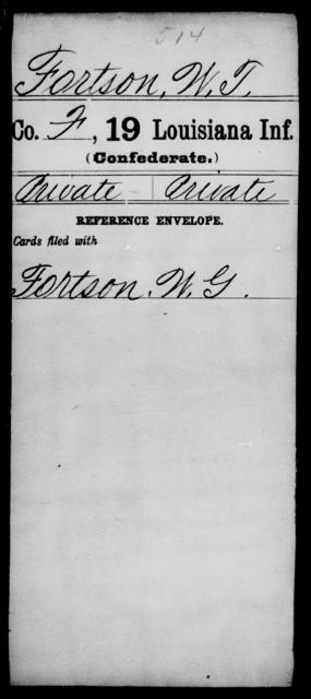 Fortson, W T - Age [Blank], Year: [Blank] - Nineteenth Infantry, Fe - Ho - Louisiana
