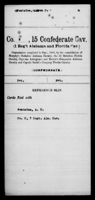 Fountaine, Aaron P - Age [Blank], Year: [Blank] - Fifteenth Confederate Cavalry, D-Ha - Raised Directly by the Confederate Government