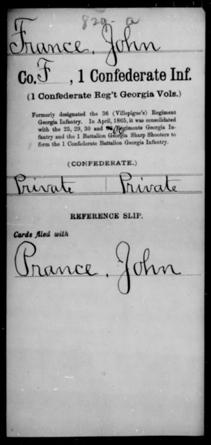 France, John - Age [Blank], Year: [Blank] - First Confederate Infantry, F-Ha - Raised Directly by the Confederate Government
