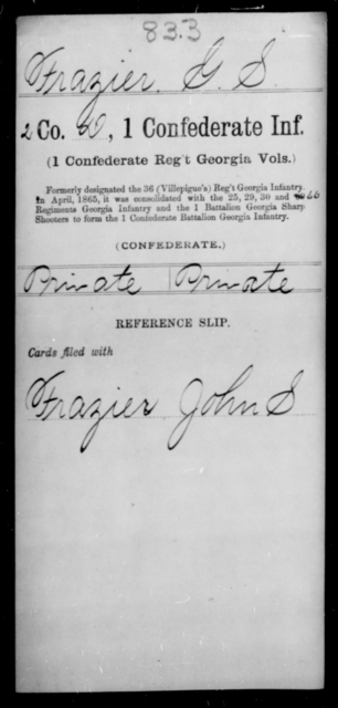Frazier, G S - Age [Blank], Year: [Blank] - First Confederate Infantry, F-Ha - Raised Directly by the Confederate Government